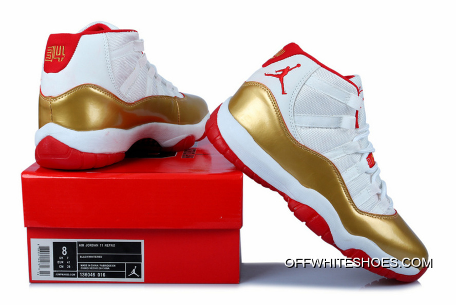 new concept b47ce d1596 Nike Air Jordan 11 Shoes Men s Official White Gold Red For Sale
