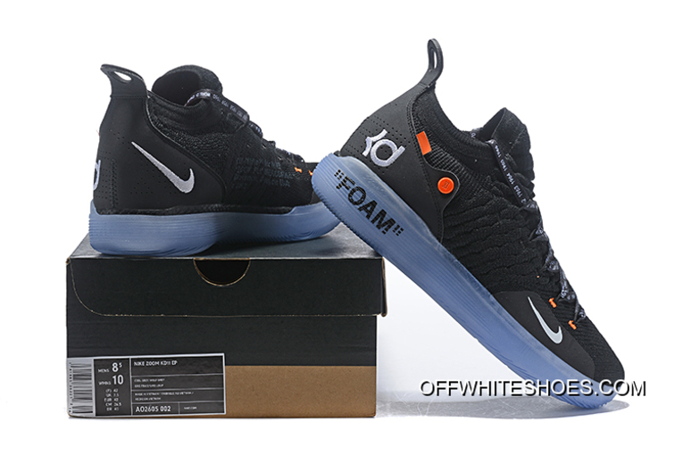 5f24cce9f2d1 Off-White X Nike KD 11 Black White-Orange Men s Basketball Shoes Online