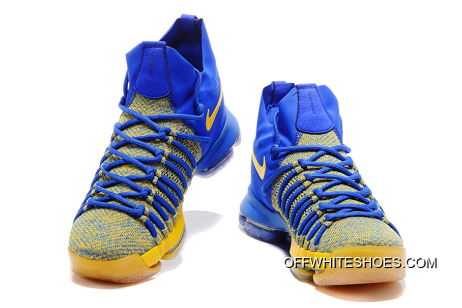 "c8aa7c1b2ca4 Outlet Nike Zoom KD 9 Elite ""Warriors Away"" Blue Yellow"