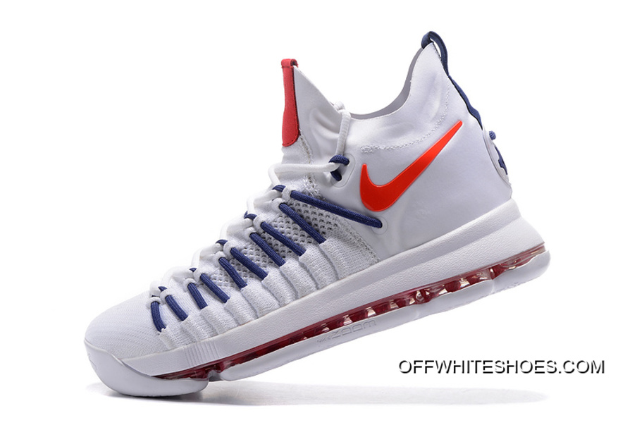 7d38ee2a8d32 Nike Zoom KD 9 Elite White Dark-Blue Basketball Shoes New Year Deals ...
