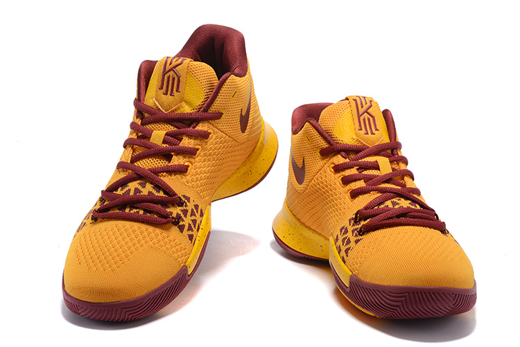 a13075e4389 New Style Nike Kyrie 3 Yellow Wine Red