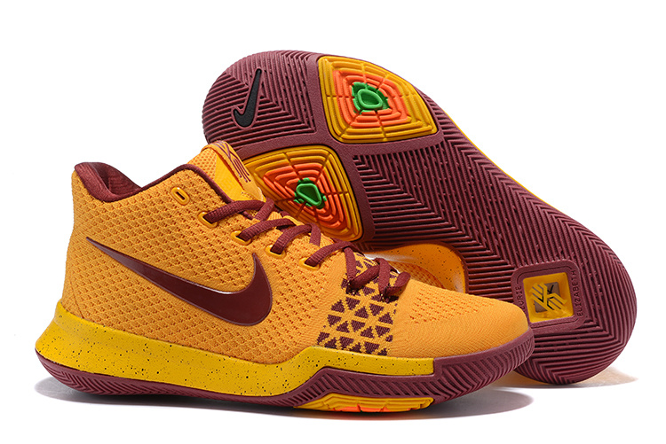 sports shoes ba616 b6f49 New Style Nike Kyrie 3 Yellow Wine Red