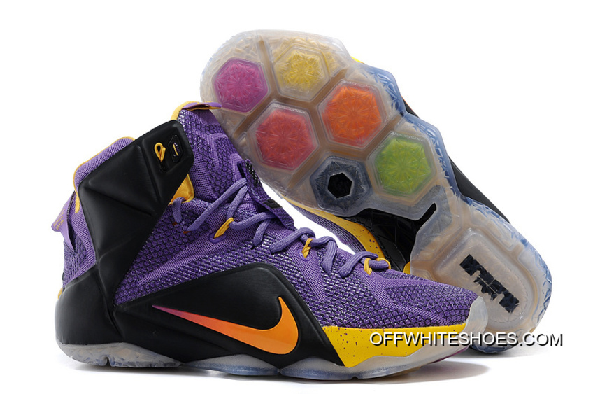size 40 66430 03290 Copuon Nike LeBron 12 Purple Black-Yellow