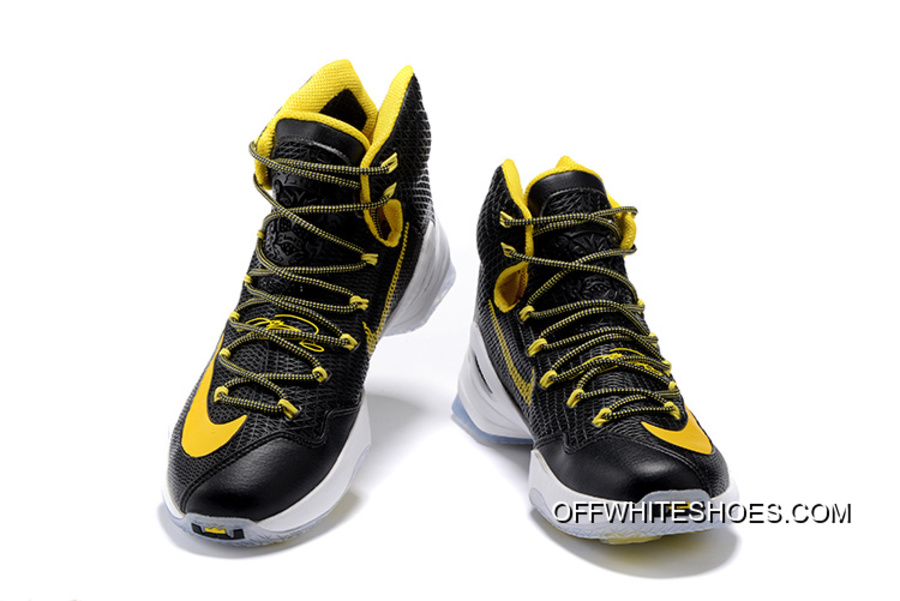c23b028f853 Nike LeBron 13 Elite Black Yellow-White Basketball Shoes Free Shipping