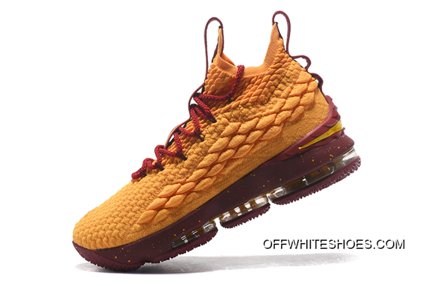detailed look 6df94 871a3 Free Shipping Nike LeBron 15 Yellow Burgundy Gold