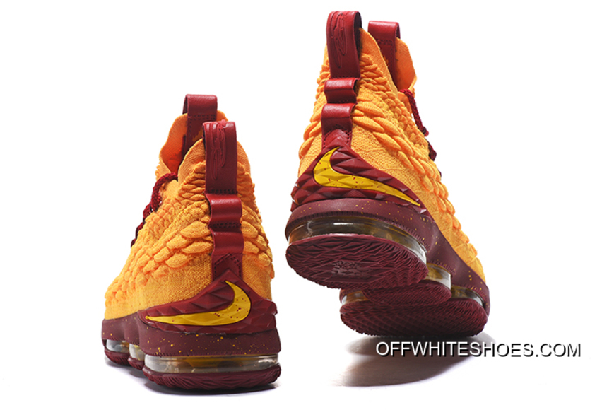 detailed look 03397 28354 Free Shipping Nike LeBron 15 Yellow Burgundy Gold