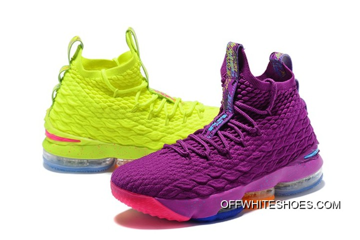 "20e756ba99b What The Nike Lebron 15 ""Volt   Purple"" Basketball Shoes Outlet ..."