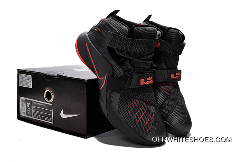 low priced fab3e df48c Discount Nike LeBron Soldier 9 Black And Red Highlights Basketball Shoe
