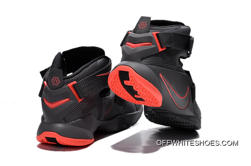 0c8ee39e9dbe9 Discount Nike LeBron Soldier 9 Black And Red Highlights Basketball Shoe