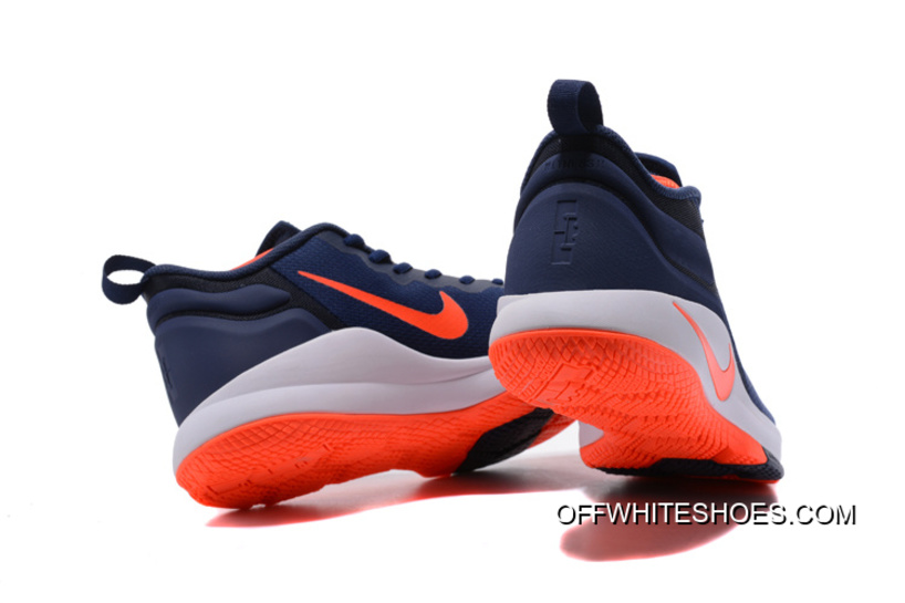 933fba1c58d Nike LeBron Zoom Witness 2 Navy Blue Orange-White Basketball Shoes Discount