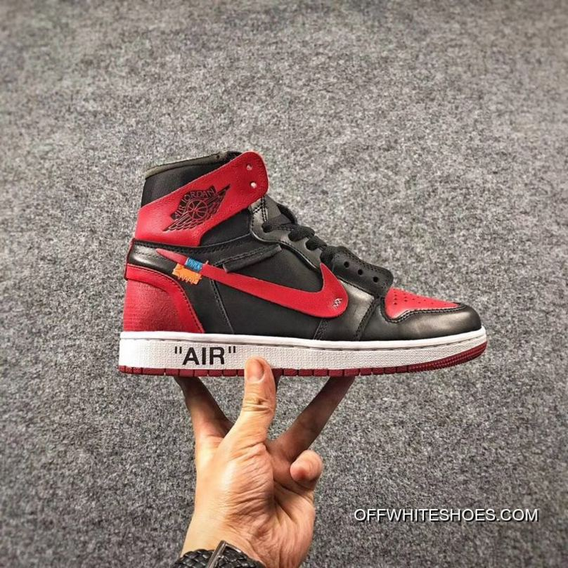 306e8742d31a OFF-WHITE X Air Jordan 1 Mens Shoes Bred Cheap To Buy