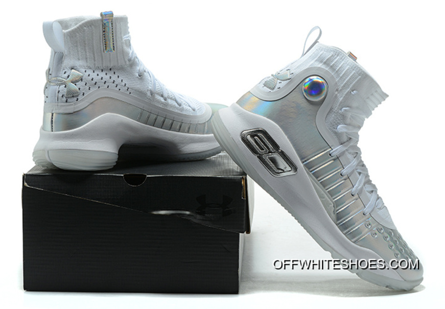"Under Armour Curry 4 ""Prism"" White Metallic Silver Top Deals 10e2059a2e"