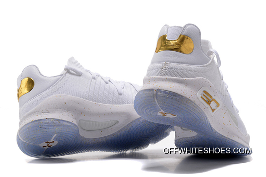 """143a7fe9a572 Copuon Under Armour Curry 4 Low """"Chef White"""" White Gold"""